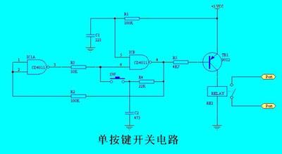 单的单按键开关电路展示 图图片